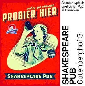 Im Shakespeare Pub könnt ihr unser 30167 Bier geniessen